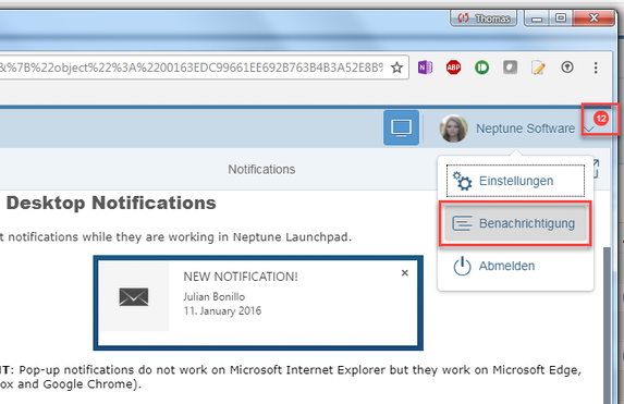 Configure Launchpad Notification - Neptune Software Community