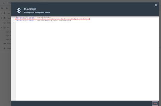 Error in remote system call: Error: self signed certificate